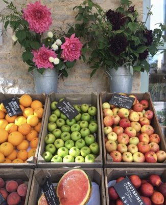 Fruits and vegetables at Daylesford farm shop