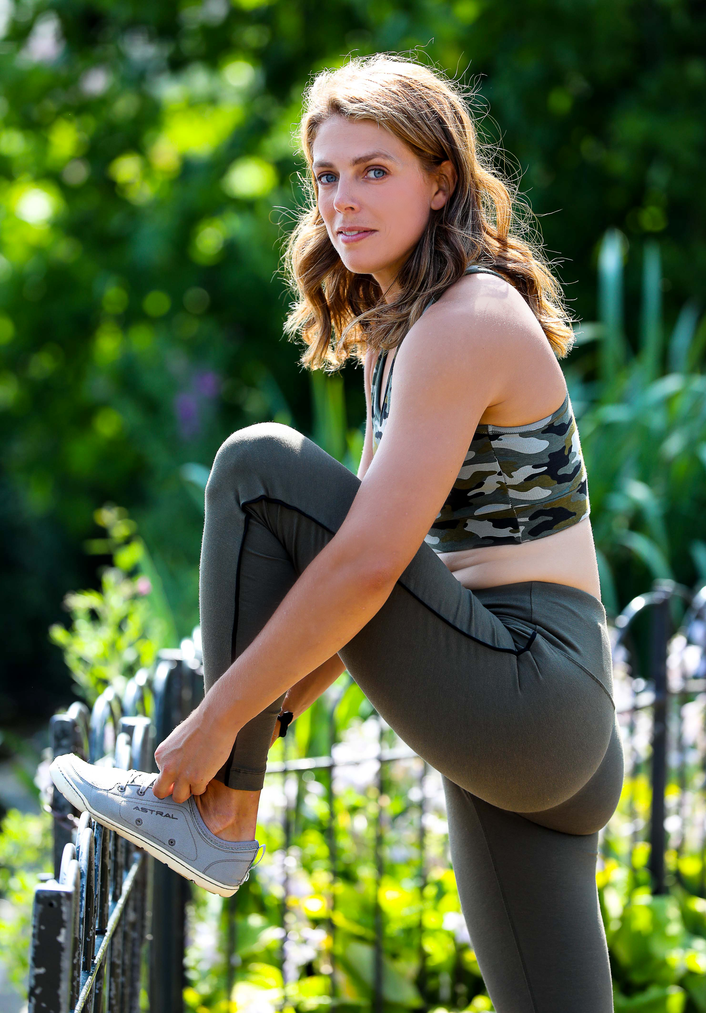 Megan Hine wearing Asquith eco-friendly activewear in Hyde Park
