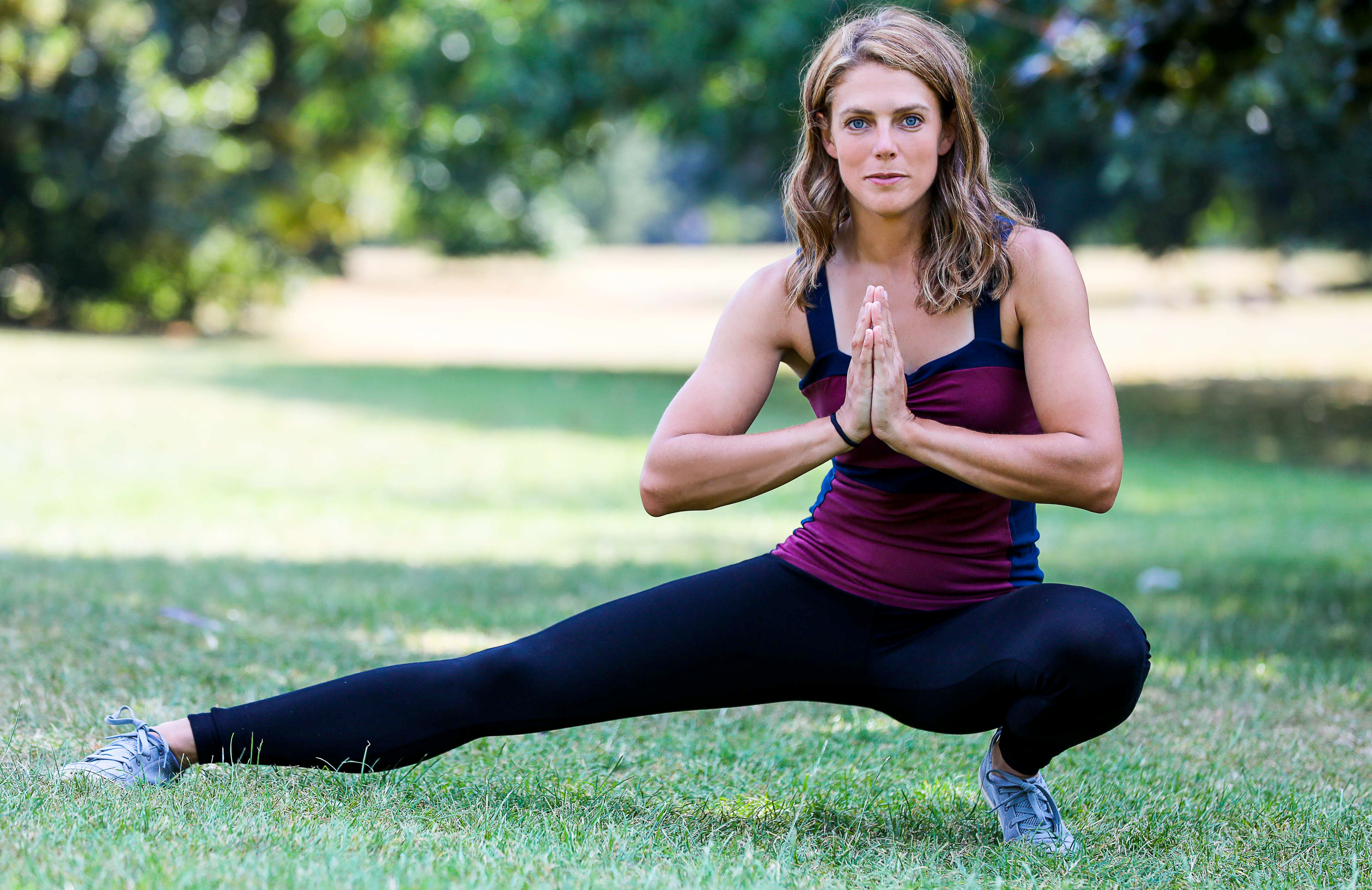 Megan Hine wearing Asquith bamboo yoga clothes in Hyde Park.
