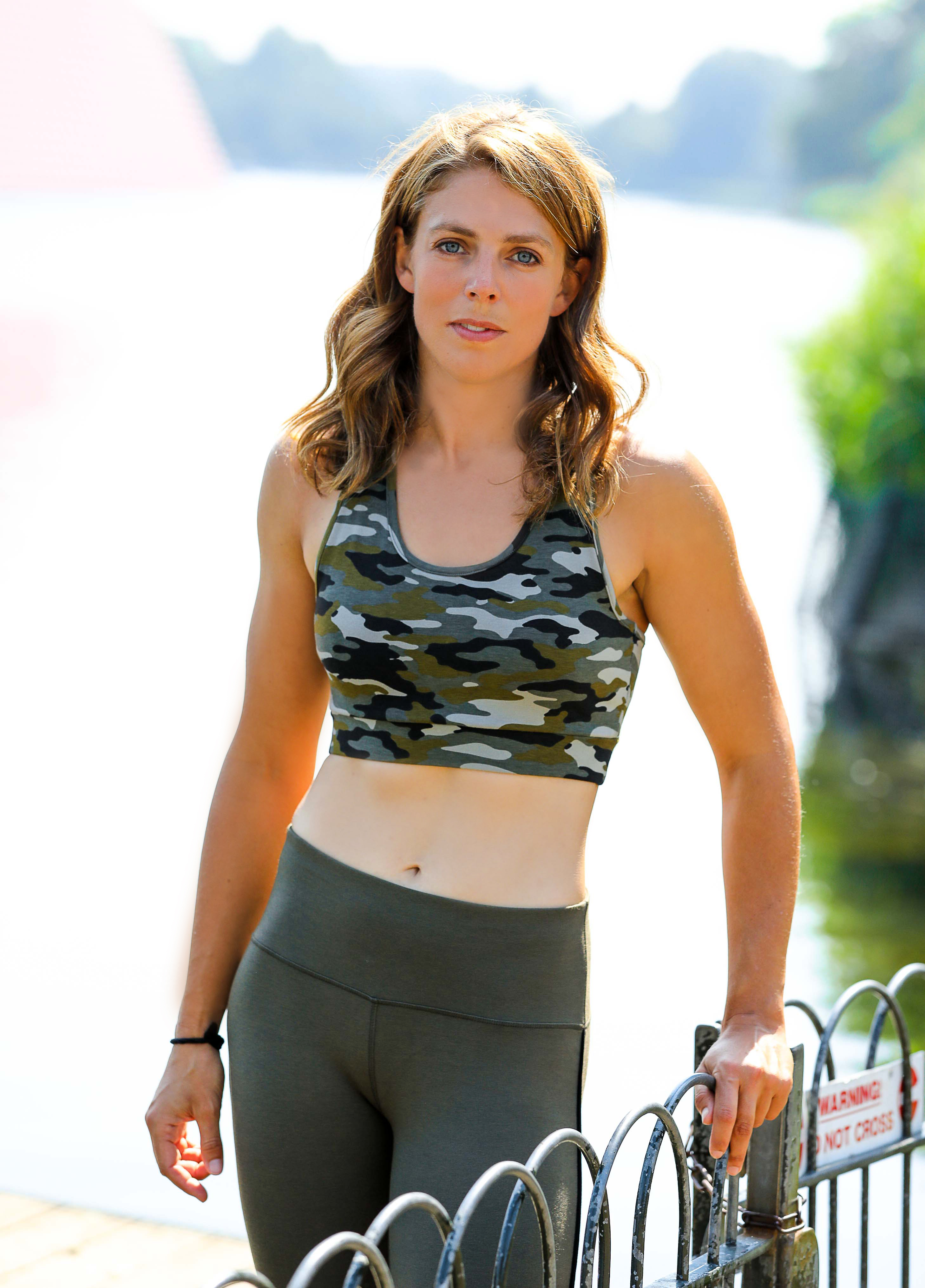 Megan Hine wearing Asquith camouflage yoga clothes in Hyde Park.