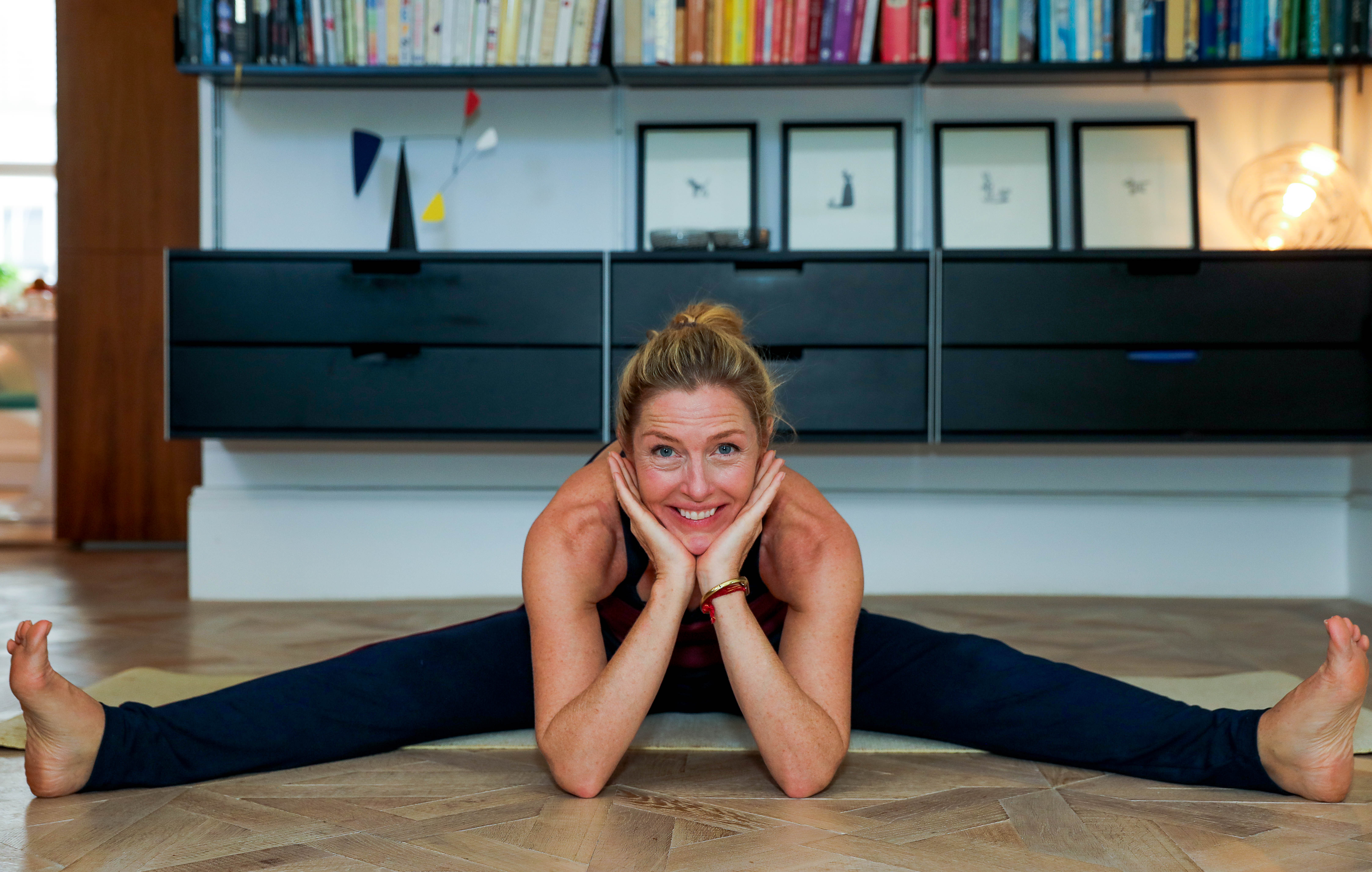 Sophie Conran wears Asquith organic yoga clothes.